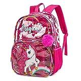 Zaino per bambini Borsa da scuola Zaino da viaggio Impermeabile Trasparente per ragazze Unicorno Rosa