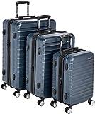Amazon Basics - Trolley rigido premium, con rotelle pivotanti e lucchetto TSA integrato, Set da 3 pezzi (55 cm, 68 cm, 78 cm), Blu marino