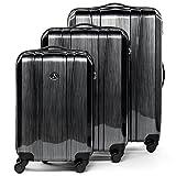 FERGÉ set di 3 valigie viaggio DIGIONE - bagaglio rigido dure leggera 3 pezzi valigetta 4 ruote grigio