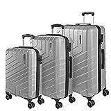 Set di 3 Valigie Trolley da Viaggio Rigide - Tris Bagaglio a Mano e da Stiva Ultra Leggeri in ABS con Manico in Alluminio - Chiusura TSA e 4 Ruote Doppie Girevoli - Perletti Travel (Argento, S+M+L)