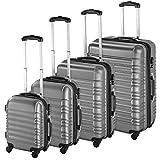 TecTake Set di 4 valigie ABS rigido trolley valigia bagaglio a mano borsa elegante - disponibile in diversi colori - (Argento | no. 402025)