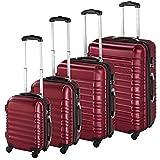 TecTake Set di 4 valigie ABS Rigido Trolley Valigia Bagaglio a Mano Borsa Elegante - Disponibile in Diversi Colori - (Rosso Vino   No. 402026)