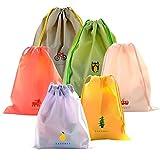 Coolzon Set di 6 Borsa Morbida Impermeabile Borse da Viaggio Sacca da Ginnastica del PE plastica Sacchetto Portatile a Spalla per Palestra Drawstring Bag Gymsack