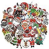 HENJIA Adesivi Cartoon Babbo Natale Pupazzo di Neve per Valigia Bagagli Chitarra Laptop Giocattoli per Bambini Adesivo per Bambini 50 Pz