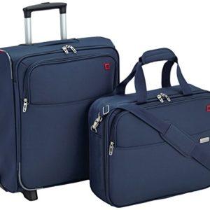 American Tourister Atlanta Cabin Fit 2 PC Set A Bagaglio da Cabina con Porta PC e Laptop, 58 litri, 50 cm, Blu