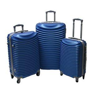 JustGlam – Set 3 Trolley set2030, valige rigide in ABS policarbonato, bagaglio piccolo da cabina, chiusura con lucchetto / royal