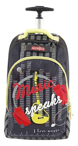 Alex & Co Zaino Trolley Superstar con Maniglia Telescopica Zainetto per bambini, Poliestere, Nero, 48 cm
