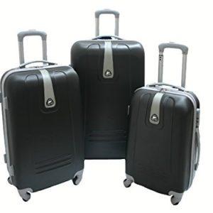 JustGlam – Set 3 Trolley 1305, valige rigide in ABS policarbonato, bagaglio piccolo da cabina, chiusura con lucchetto / Nero