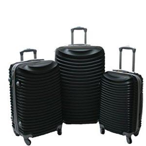 JustGlam – Set 3 Trolley set2030, valige rigide in ABS policarbonato, bagaglio piccolo da cabina, chiusura con lucchetto / nero