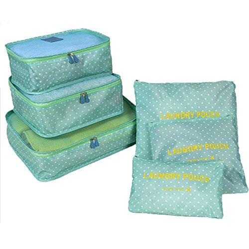 YIMOJI da viaggio per bagagli, confezione da 6 sacchetti Cosmetics-Cubo multiuso Custodia capi intimi gli organizzatori Set di borse e scarpe Blu Green Spot 6 Sets