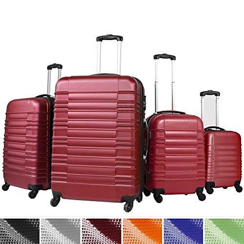 Vojagor Trolley valigia set valigie rigide bagagli da 4 pezzi colore bordeaux