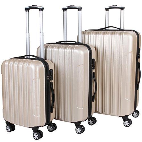 Vojagor Set valigie trolley guscio rigido set da 3 trolley S/M/L colore champagne