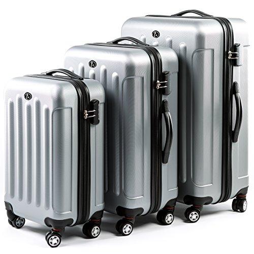 FERGÉ® Set di 3 valigie LYON – leggero bagaglio rigide dure da 3 rigida argento