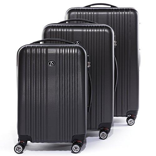 FERGÉ® Set di 3 valigie TOULOUSE – leggero bagaglio rigide dure 3 rigida grigio