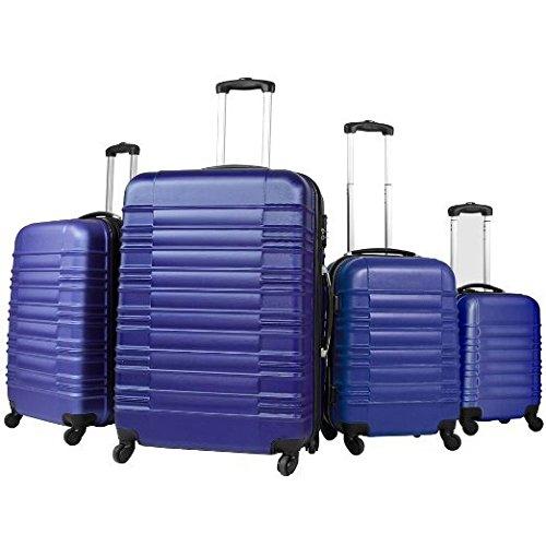 Vojagor Trolley valigia set valigie rigide bagagli da 4 pezzi colore blu
