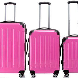 2048rotelle per valigia da viaggio 3pezzi set valigetta valigetta Set Trolley rigida in 14colori, Pink (rosa) – 2048