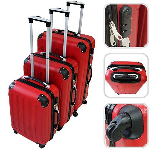 Todeco – Set Di Valigie, Valigie Da Viaggio – Materiale: Plastica ABS – Tipologia ruote: 4-ruote con 360° di rotazione – Angoli protettivi, 51 61 71 cm, Rosso, ABS