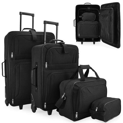 Set di Valigie Trolley nero Serie di 4 valigie in tessuto resistente con 2 ruote e piedini di appoggio – Con Borsa a tracolla e Beauty case – SISTEMA DI CINGHIE CON FIBBIE A SCATTO
