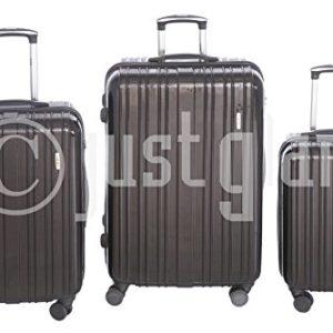 JustGlam – Set 3 Trolley 888 valigie rigide in ABS policarbonato 4 ruote piroettanti , bagaglio piccolo da cabina , chiusura con lucchetto TSA per dogana americana