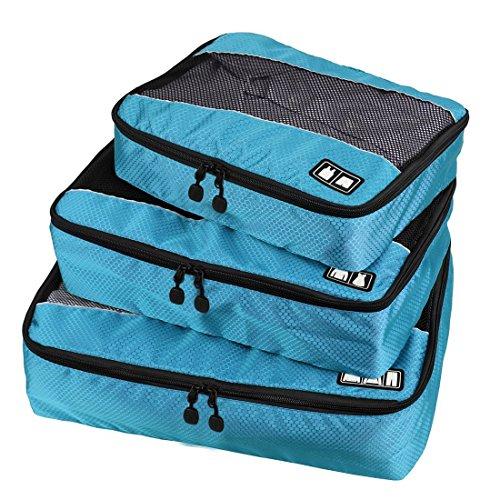 BAIGIO Organizer da Viaggi Borsa Organizzatori per Bagaglio Resisitente Sacchetto di Accessori per Valigia Trolley e Zaino da Viaggio 3 Cubi di Imballaggio Taglia (S,M,L), Blu