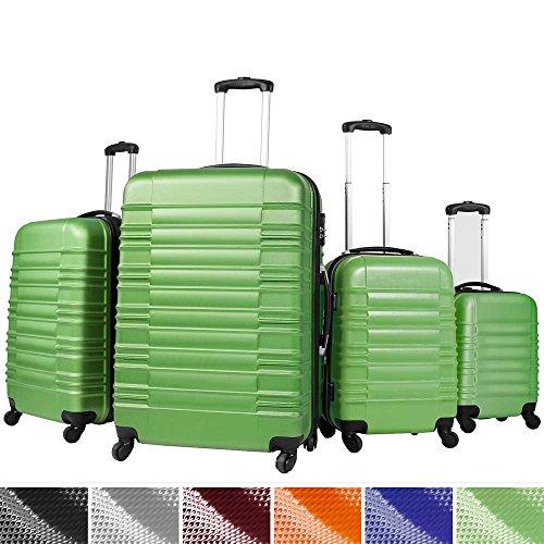 Vojagor Trolley valigia set valigie rigide bagagli da 4 pezzi colore verde