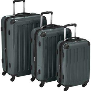 HAUPTSTADTKOFFER – Alex – Set di 3 valigie, TSA, Nero brillante, (S, M & L), 235 litri, Colore  Verde foresta