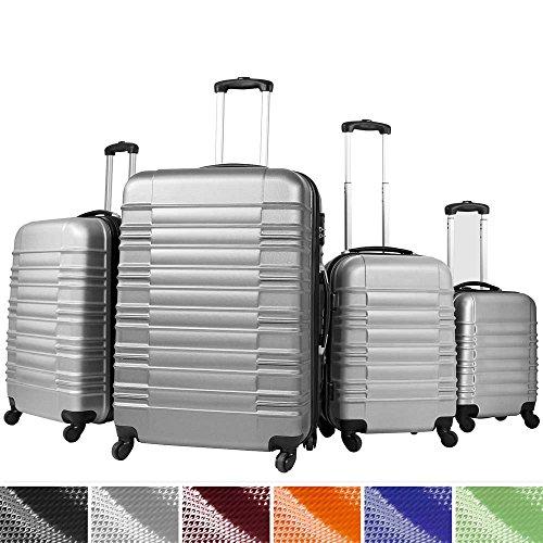 Vojagor Trolley valigia set valigie rigide bagagli da 4 pezzi colore argento