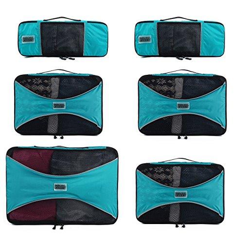 PRO Packing Cubes | Set Convenienza 6 Pezzi Packing Cube da viaggio | Risparmio dello spazio in valigia del 30% | Organizer ultra leggeri per bagagli | Ottimi per borsoni, bagagli a mano e zaini