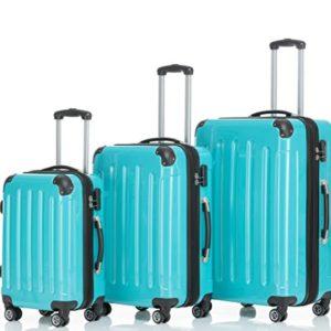 Beibye Trolley da viaggio rigido 2048, con 4 ruote gemellate, misura: M, L, XL, disponibile in 14colori, turchese (turchese) – 2048