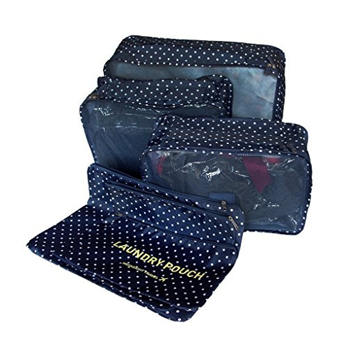 YIMOJI da viaggio per bagagli, confezione da 6 sacchetti Cosmetics-Cubo multiuso Custodia capi intimi gli organizzatori Set di borse e scarpe Blu Navy Spot 6 Sets