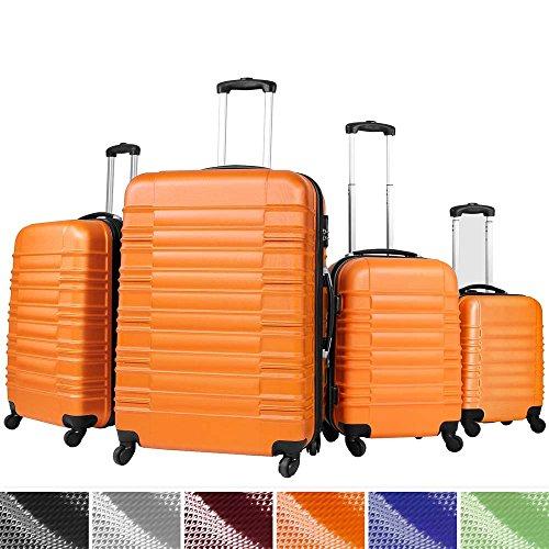 Vojagor Trolley valigia set valigie rigide bagagli da 4 pezzi colore arancione