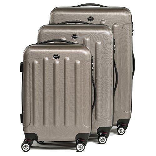 FERGÉ® Set di 3 valigie LYON – leggero bagaglio rigide dure da 3 rigida marrone