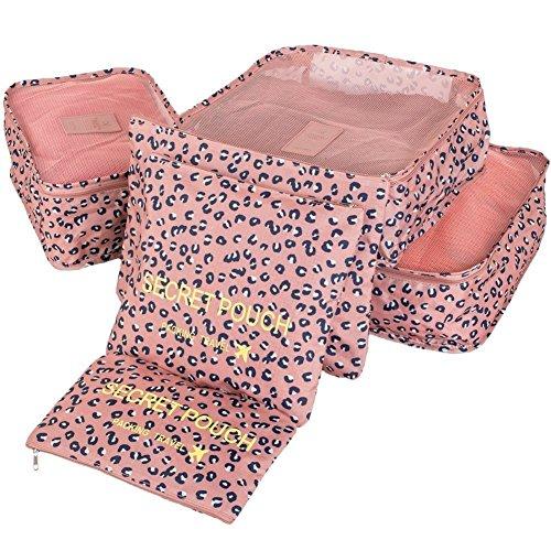 YIMOJI da viaggio per bagagli, confezione da 6 sacchetti Cosmetics-Cubo multiuso Custodia capi intimi gli organizzatori Set di borse e scarpe Blu Rosa Leopardo 6 Sets