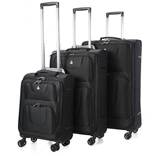 Aerolite 9978 – Set di 3 Bagaglio a Mano, Valigia Ultra Leggera con 8 Ruote , 55cm Bagaglio a Mano + 72cm + 81cm , Nero