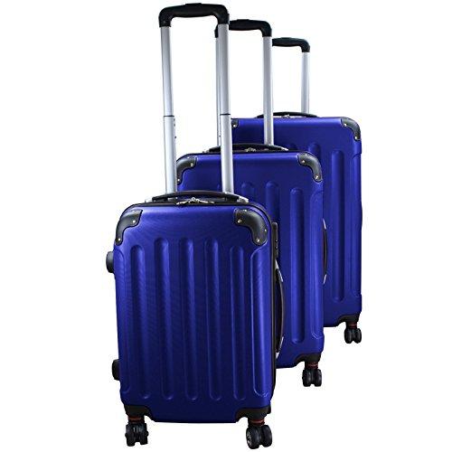 Set di 3 valigie rigidi trolley da viaggio Experience 2.0 360° ruote doppie di BB Sport Set di 3 valigie rigidi trolley da viaggio Experience 2.0 360° ruote doppie, Colore:holiday blue