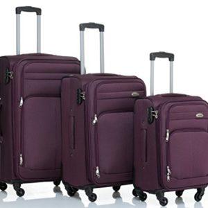 8005di 34ruote valigia bagaglio trolley da viaggio valigia Trolley Set in 5colori PURPLE Set