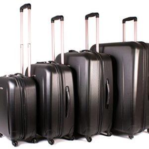 72114 Nero Set di 4 Valigie Borderline Girandola, materiale resistente, con Lucchetto da viaggio per bagagli