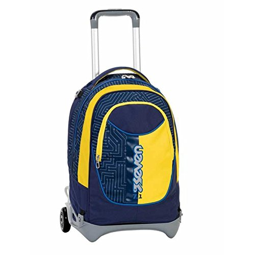 3 in 1 ZAINO TROLLEY SEVEN NEW JACK – CIRCUIT – Giallo Blue – SGANCIABILE e LAVABILE – Scuola e viaggio