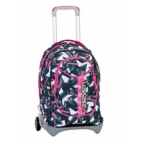 3 in 1 ZAINO TROLLEY SEVEN NEW JACK – TAG GIRL – Rosa Nero – SGANCIABILE e LAVABILE – Scuola e viaggio