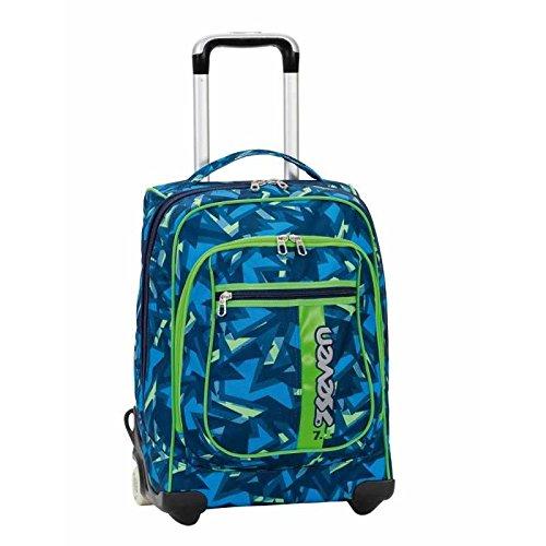 2 in 1 ZAINO TROLLEY SEVEN ROUND – TAG BOY – Blue Verde – spallacci a scomparsa ! 37 LT – Scuola e viaggio