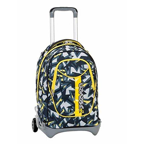 3 in 1 ZAINO TROLLEY SEVEN NEW JACK – TAG BOY – Giallo Nero – SGANCIABILE e LAVABILE – Scuola e viaggio