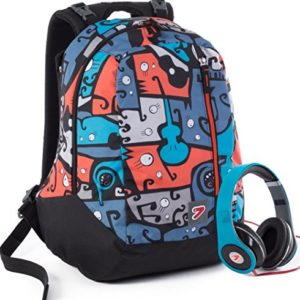 Zaino SEVEN – THE DOUBLE JANGLE – Blue Arancione – cuffie stereo con grafica abbinata incluse! 2 zaini in 1 REVERSIBILE