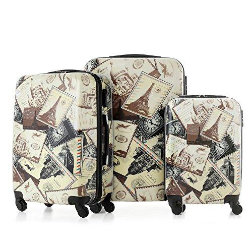 TOMSHOO Set di Valigie Da Viaggio 3 Pezzi Bagagli + ABS Carrello 20″/24″/28″ Corazza Dura Combinazione Serratura 4 Ruote Spinner Set