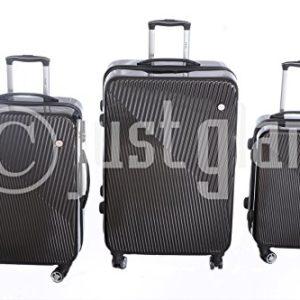 JustGlam – Set 3 Trolley 885 valigie rigide in ABS policarbonato 4 ruote piroettanti , bagaglio piccolo da cabina , chiusura con lucchetto TSA per dogana americana