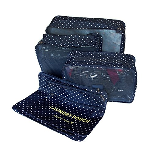 FakeFace  Packing Bags, Organizer per valigie , Dark Blue Dot (Blu) – Travel packing cubes-3