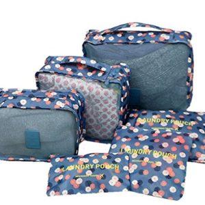 YIMOJI da viaggio per bagagli, confezione da 6 sacchetti Cosmetics-Cubo multiuso Custodia capi intimi gli organizzatori Set di borse e scarpe Blu Flora-Blue 6 Sets