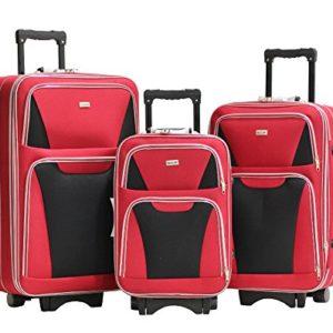 Set di 3 Valigie Alistair Ponte Deposito – Canvas – 3 ruote – Leggero – Maniglia telescopica – Zipper – Rosso Multi