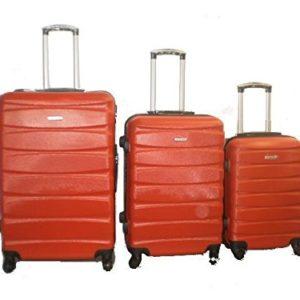 DZL Set 3 Trolley valigie rigide in ABS e policarbonato 4 ruote piroettanti colori vari (ROSSO)