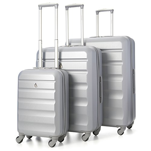 Aerolite Set di 3 ABS Trolley Valigie Rigide Leggeri con 4 Ruote , 55cm Bagaglio a Mano + 69cm + 79cm , Argento