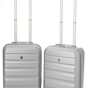 Aerolite ABS Trolley Bagaglio a Mano Valigia Rigida Leggera con 4 Ruote , Approvata per Ryanair , Easyjet , Alitalia , Lufthansa , Swiss e Molte Altre , Set di 2 Valigie , Argento